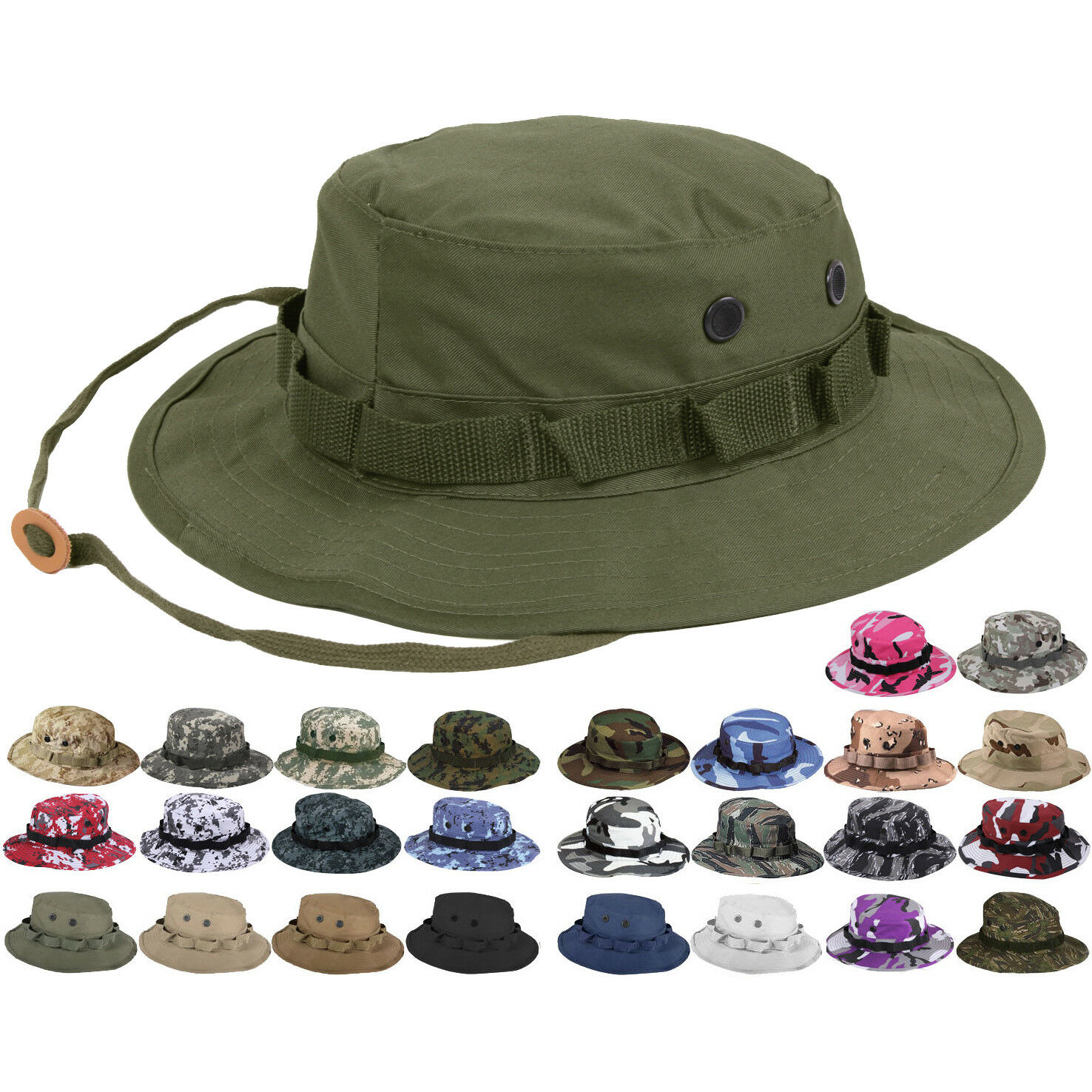 59a31fc1a Tactical Boonie Hat Military Camo Bucket Wide Brim Sun Fishing Bush Booney  Cap
