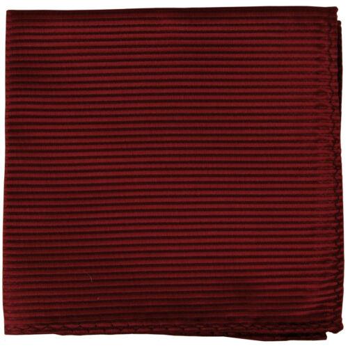 New polyester woven thin striped pocket square hankie handkerchief burgundy