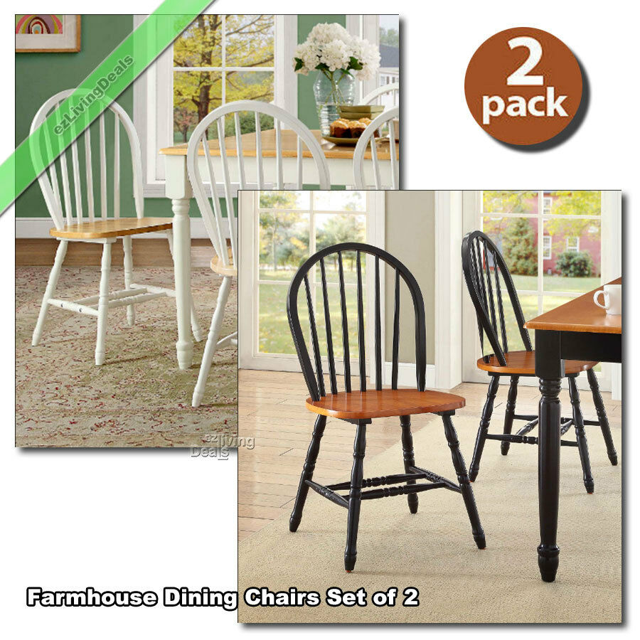 Details About Dining Room Chairs Set Of 2 Farmhouse Wood Country Kitchen  Windsor, Black, White