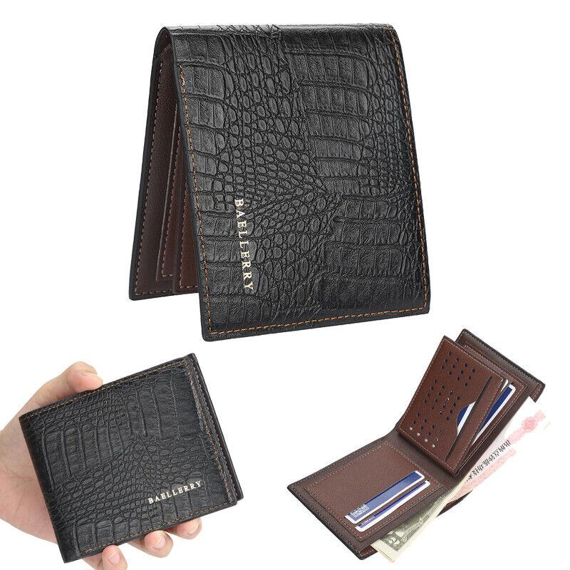 Mens Leather Bifold ID Card Holder Purse Wallet Billfold Slim Clutch Handbag US