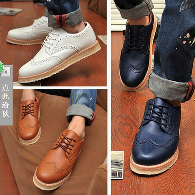 Mens Oxford Flats Brogue Wing tip Retro Oxfords Sneakers Lace-up Casual  shoes