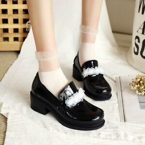 Womens Block Heels Patent Leather Pump Slip On Lace Oxfords Platform Shoes Cospl