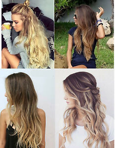 Premium full head soft clip in dip dye ombre hair extensions black image is loading premium full head soft clip in dip dye pmusecretfo Image collections