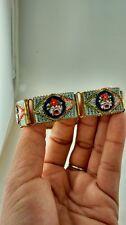 Stunning vintage antique Italy flower micro mosaic brass links bracelet