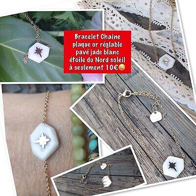 Bracelet Médaille Pierre Semi Précieuse Jade Blanc Soleil Étoile Plaque Or Sokde
