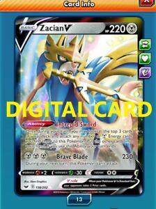 Digital Card Zacian V 138//202 for Pokemon TCG Online PTCGO