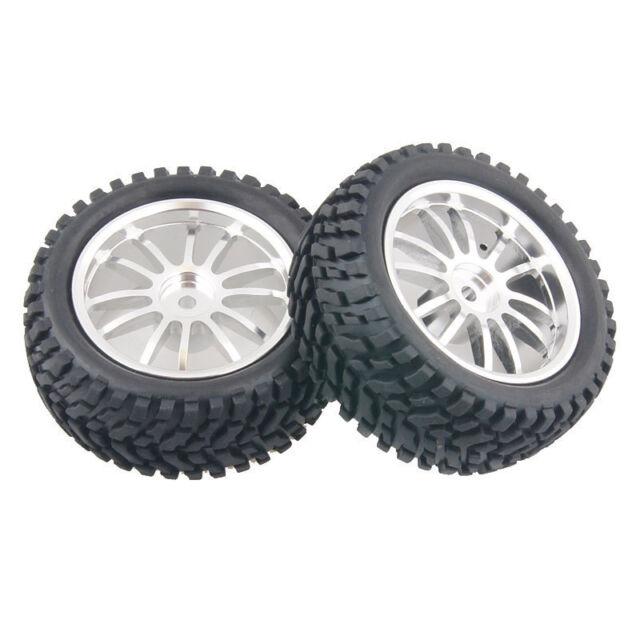 4x RC Aluminum Wheel Rubber Tires Sponge Rim HSP HPI 1:16 Off-Road Car 123S-7004