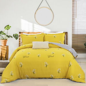 Yellow Chrysanthem Floral Single Queen King Size Cotton Doona Duvet Quilt Cover