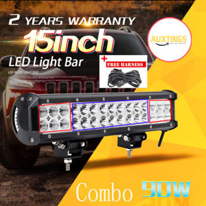 15INCH 90W Led Light Bar Flood Spot Work Driving Offroad 4WD Truck Atv SUV Car