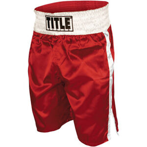 Red//White Title Professional Boxing Trunks
