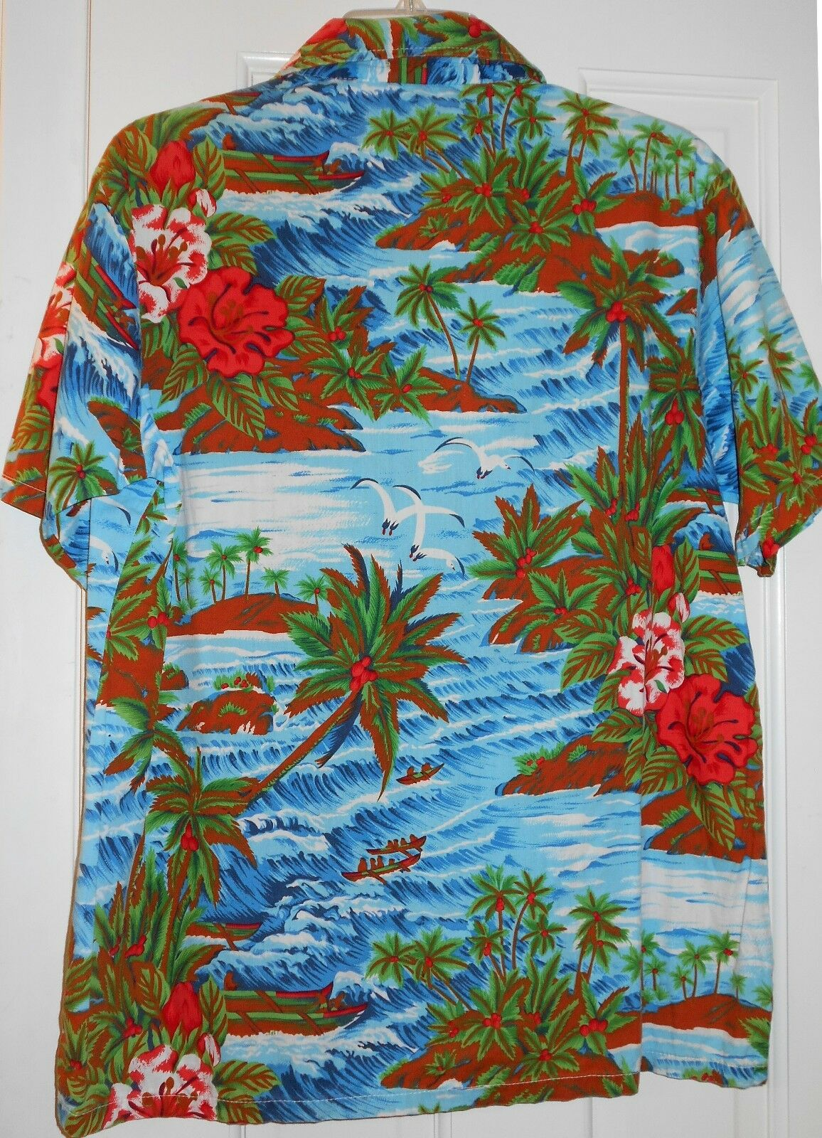 Orig Vtg 60s MADMAN Sea Gull Birds Outrigger Canoes Waves Hawaiian Aloha ShirtL
