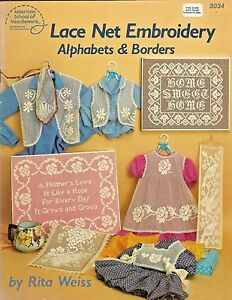 Net Lace Embroidery Alphabets & Borders Darning Patterns Rita Weiss
