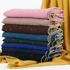 Wrap-Scarves-Long-Scarf-Muslim-Women-Rhinestones-Shawl-Chiffon-Head-Pearl-Hijab