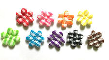 100 pcs Small gingham flower Padded Appliques  Mix color size 10 mm