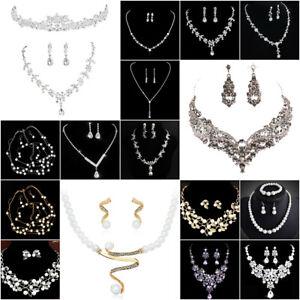Luxury-Wedding-Bridal-Party-Crystal-Rhinestone-Necklace-Earrings-Jewelry-Set