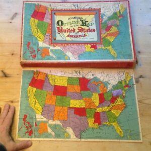 CLASSIC ANTIQUE United States Color Picture Puzzle Map Milton ...
