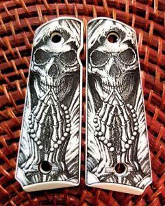 1911-custom-engraved-ivory-scrimshaw-grips-Grim-Reaper-Praying-Skull-Cross