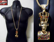Hip Hop Iced Out Chunky King Tut Pharaoh Egyptian Pendant Franco Chain Necklace