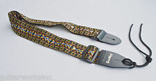 Guitar Strap Black Brown Golden Earth Tone Woven Nylon Leather Ends Made In USA