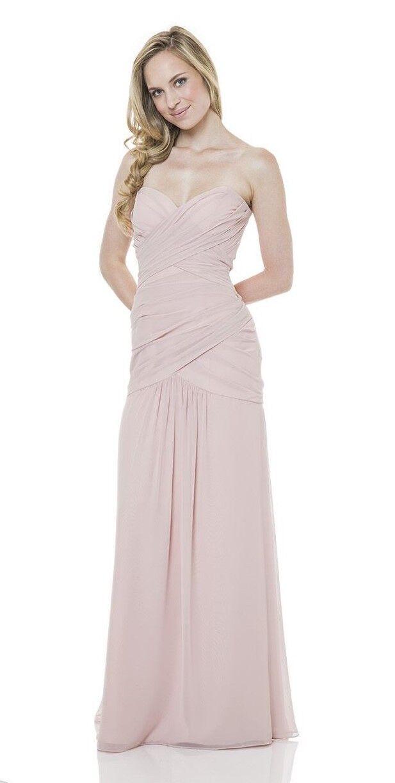 Bari Jay Blush Pink Strapless Chiffon Corset Back Sz 8 Bridesmaids Prom Dress