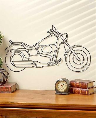 DETAILED BLACK METAL MOTORCYCLE MANCAVE BAR GARAGE OFFICE GEARHEAD WALL ART