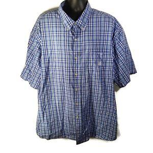 CHAPS-Easy-Care-Mens-Casual-S-S-Button-Down-Shirt-Blue-White-Plaid-4XB-Big