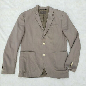 Zara Man Khaki Preppy Blazer Jacket 2 Front Buttons Cotton