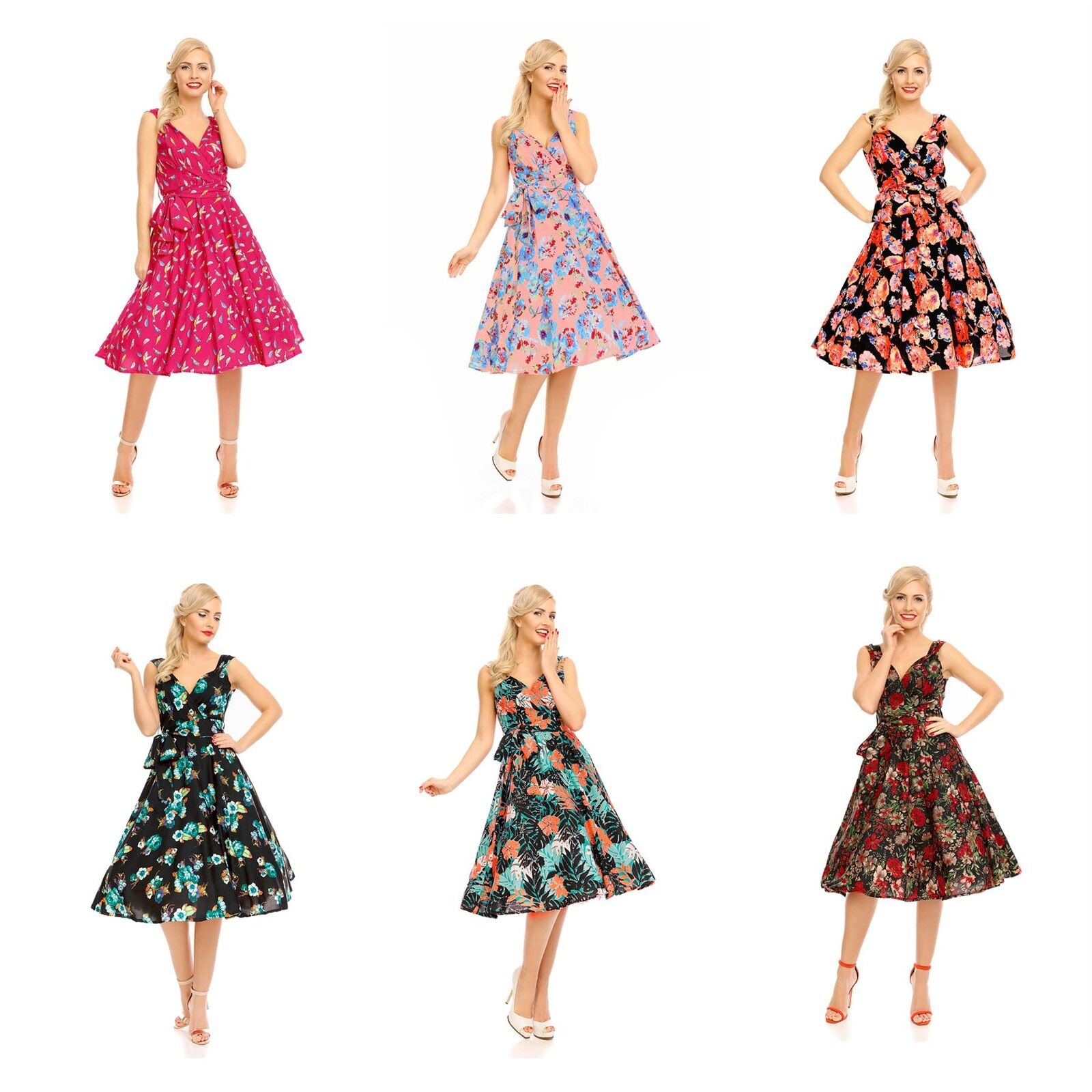 Looking Glam 1950s Retro Vintage Pin Up Swing Floral Dress