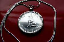 """1967 CANADA Real SILVER  WOLF BEZEL PENDANT 30"""" 925 Sterling Silver Snake Chain"""