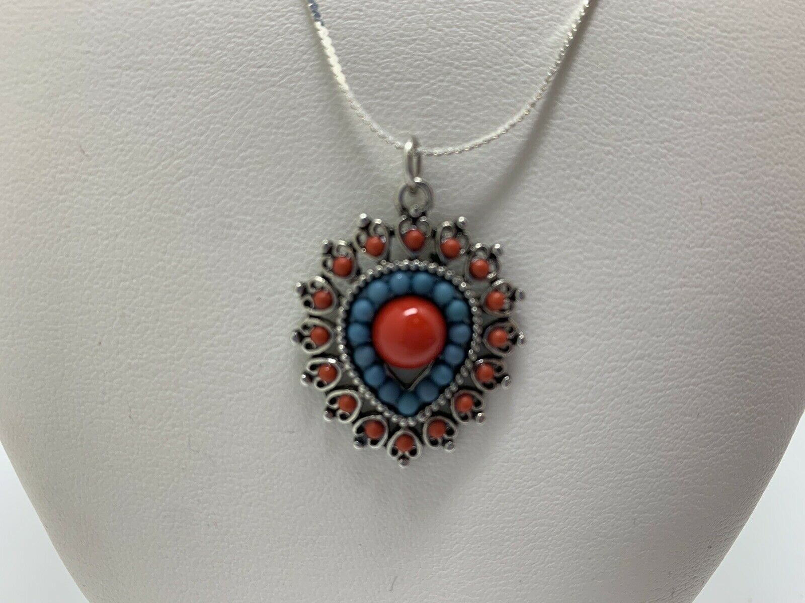 Rust Colored Beads /& Rhinestones on Silver Box Chain Necklace