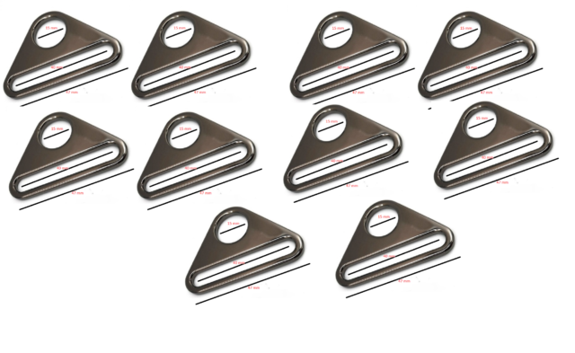 10 x METAL ADJUSTER TRIANGLES  BARS SWIVEL CLIP BUCKLE STRAPS LEATHER