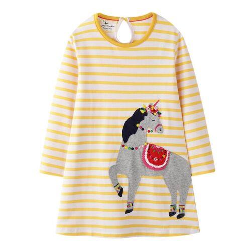 Girls Princess Kids Long Sleeve Animals T-shirt Top Dress Cotton Tunic Age 2-7Y