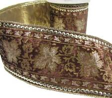 "Fall Autumn Harvest Brown Gold Leaf Leaves Sequins Velvet Wide Wired Ribbon 4""W"
