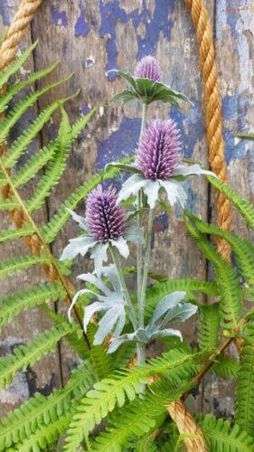 Anniversaire artificielle Chardon Bourgeon Fleur Tige Violet lavande avec 3 petites têtes.