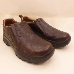 ROPER PERFORMANCE Men's Size 8 1/2 Brown Ostrich Print Leather Slip-On Moc Shoes