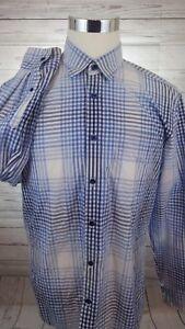Joseph-Abboud-Collection-Casual-Dress-Shirt-Men-039-s-Large-Blue-Check-Plaid