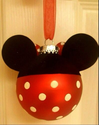 MICKEY OR MINNIE MOUSE GLASS ORNAMENTS by HALLMARK
