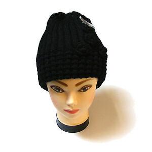2019 DernièRe Conception Femmes Noir épais Gros Câble Bonnet Tricot Avec Crochet Détails