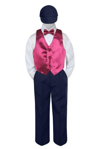 Boys Baby Toddler Kids Burgundy Maroon Vest Bow Tie Formal Set Suit Hat S-7