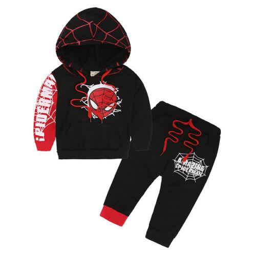 2Pcs//Set Kids Boys Superhero Spider-Man Hoody Coats Jackets Hoodies Sweatshirts