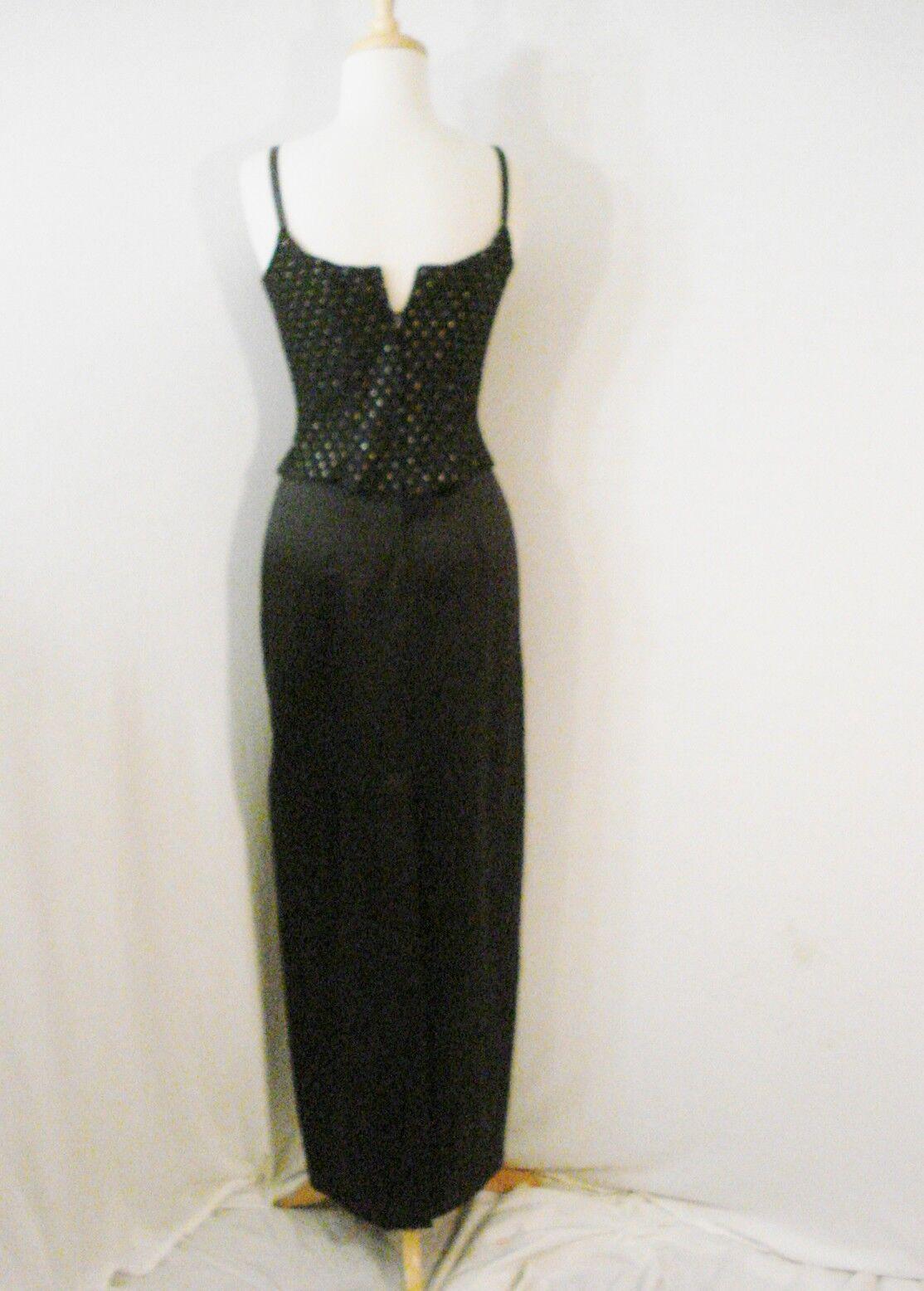 Gunne Sax Black Formal Evening Wear Dress Rhinest… - image 11