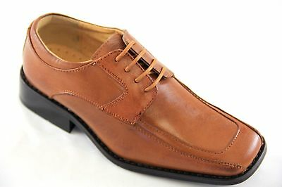 La Milano Boys Tan Genuine Leather Oxford Dress Shoes Style# AT6103