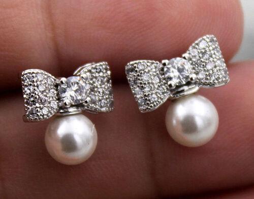 18K or blanc rempli Blanc Topaz Zircon Nœud Noeud Perle Mariage Boucles d/'oreilles