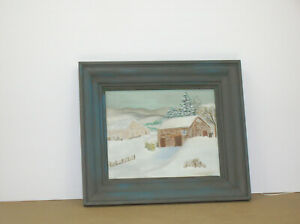 Oil-Painting-on-Canvas-Board-8x10-w-frame-Winter-Scene