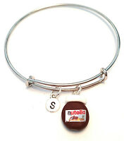 Personalized Nutella Bangle Bracelet - Choose An Initial, Nutella Jewelry