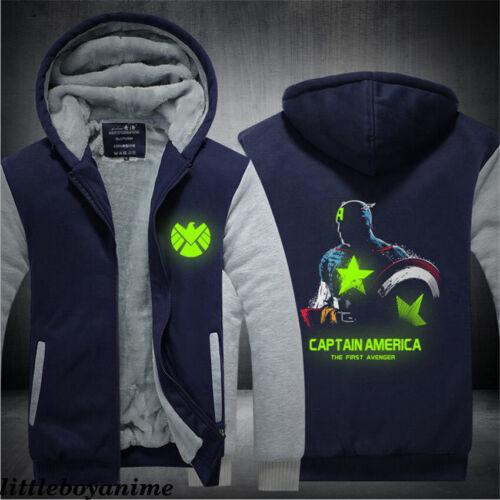 Captain America Sweater Zip Hoodie Thick Jacket Coat Men/'s Luminous Sweatshirt