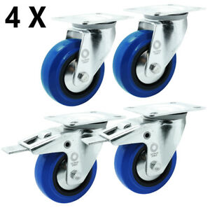 4 x Vollgummi Lenkrolle Transportrolle Schwerlastrolle Rolle Ø 100 mm Lenk-Brems