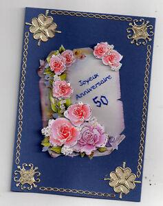 3d Gluckwunschkarte Zum 50 Geburtstag Grusskarte Blau Blumen K4 Ebay