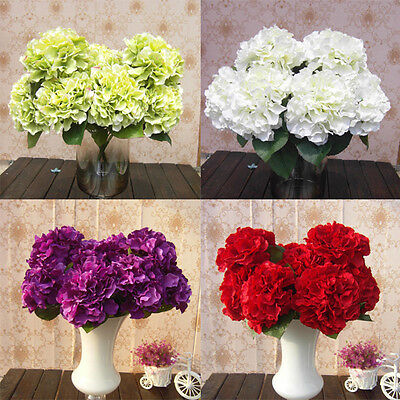 5 Flower Heads Artificial Fake Flower Bunch Home Wedding Floral Decor Hydrangea