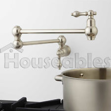 """21"""" Classic Retractable Double Joint Wall Mount Pot Filler Brushed Nickel"""